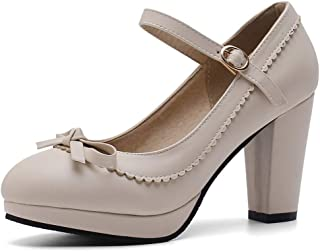 b9af6fac29fe57 DoraTasia Women s Round Toe Mary Jane Comfy Vintage Ankle Strap Dress Pumps  Chunky Block Heel Shoes