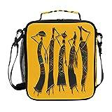 BKEOY - Bolsa térmica para el almuerzo, diseño africano, para mujer, resistente al agua, bolsa térmica para almuerzo, para niños, niñas, hombres, mujeres, escuela, picnic, trabajo al aire libre
