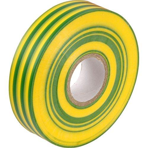 Grün/Gelb (Earth) PVC Elektro-Isolierband–33m x 19mm, große hochwertige–Starke Rolle von gocableties