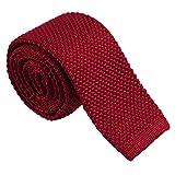 Corbata Tejida de Punto Cuadrada Color Sólido para Traje de Boda Fiesta Negocio Elegante - rojo, tal como se describe