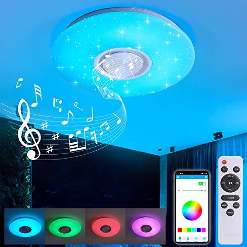 Led Deckenleuchte mit Fernbedienung Dimmbar 24W Bluetooth Sternenhimmel Deckenlampe, Farbwechsel RGB Musik Deckenleuchte für Schlafzimmer Kinderzimmer Wohnzimmer