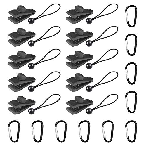Tarp Clips Heavy Duty Thumb Screw Lock Grip Tent Clip with Ball Bungee Cords and D-Ring Grimlock Locking for Holding Up Tarp, Car Cover, Pool Cover, Boat Cover 30 PCS