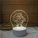 Luz Nocturna ,Lámpara De Ilusión Óptica Led 3D Con Placas Acrílicas De Patrones,Lámpara De Visualización Creativa Usb Regalo Para Niños,Anciano