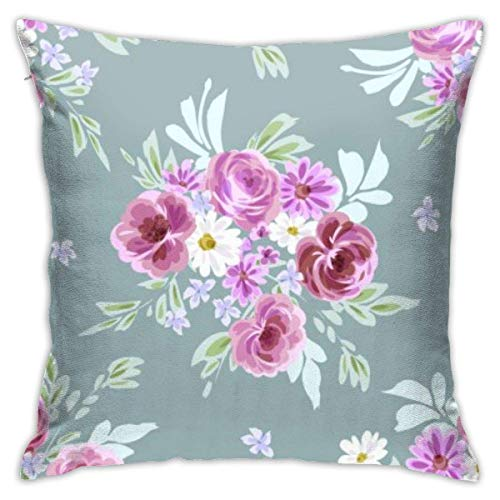 Throw Pillowcases Square Cushion Cover 45X45CM for Sofa Couch Bed Home Decoration, Seamless Floral Print with