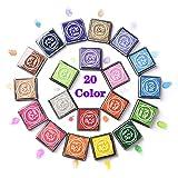 moinkerin 20 Colori Tampone di Inchiostro Tamponi per Timbri Inchiostro per Timbri per la Fabbricazione di Carte, Timbri in Gomma, Carta, Tessuto, Lavabile
