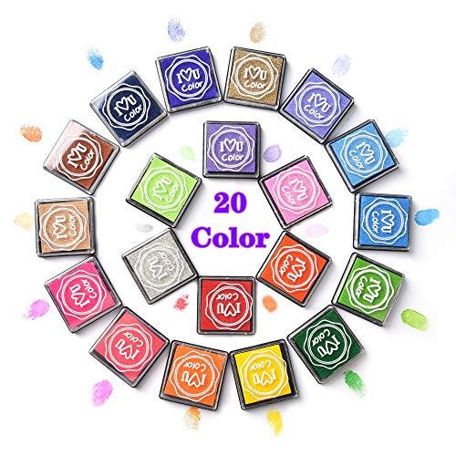 moinkerin 20 Colores Almohadilla de Tinta Tampon Tinta para Sellos para Fabricación de Tarjetas, Sellos de Goma, Papel, Tela, Lavable