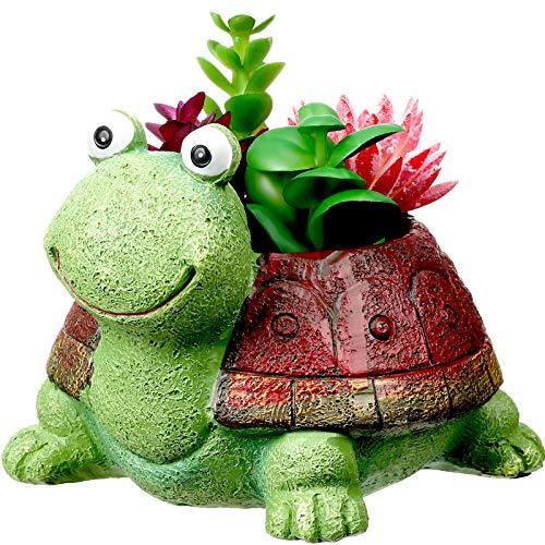 Turtle Succulent Flower Pot Mini Resin Animal Plant Pot Resin Succulent Pot Planter Cute Cartoon Bonsai Pot Bonsai Plant Holder for Home Office Desktop Table Ornament (Green Turtle with Brown Shell)