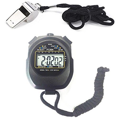Qiorange Digital Professional Handheld LCD Chronograph Sport Stoppuhr mit Edelstahl Pfeife (Set (Timer + Pfeife))