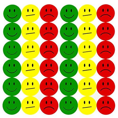 Oblique-Unique® 180 Smiley Face Sticker ø 2cm - Lächeln (Gün) - Neutral (Gelb) - Traurig (Rot)