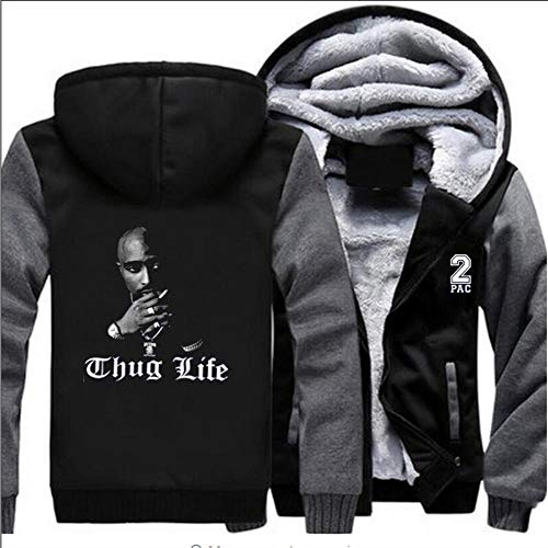 THICKEN Hoodie Zipper Eindickung Pullover Rock-2PAC Tupac Haha Thug Life-Winter-warme Strickjacke Jacke Tops C- XL