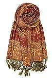 Achillea Soft Silky Reversible Paisley Pashmina Shawl Wrap Scarf w/Fringes (Rust)