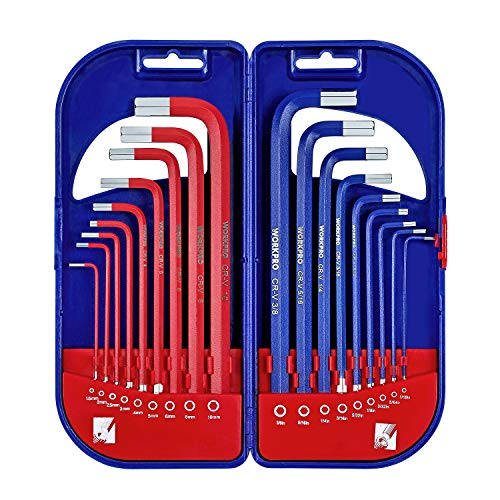 WORKPRO 18PCs - Juego de llaves hexagonales, juego de llaves Allen métricas / imperiales, juego de llaves combinadas de hexágono de brazo largo,1.5-10 mm y 1 / 16-3 / 8 pulgadas con estuche