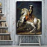 VVSUN Rey francés Luis XV con Retrato de Caballo Pintura sobre Lienzo Carteles e Impresiones Imagen escandinava para decoración de Sala de Estar Arte de Pared, 60x80 cm sin Marco