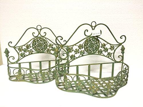 Dekowonderland - Set di 2 cestini per piante, in metallo, stile rustico shabby