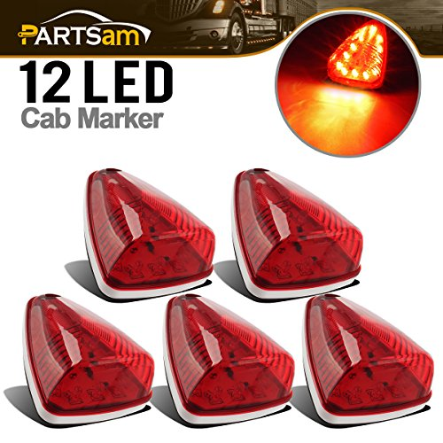 Partsam 5x Universal Red 12 LED Roof Running Top Clearance Light Assembly M20311R for Car Truck Bus Universal