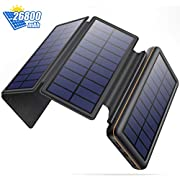 Solar Charger, 26800mAh Ultra High Capacity Power Bank, Portable External Battery with 4 Foldable Solar Panels, 2 USB Outputs 2 Inputs, Compact Battery Pack for Camping Outdoor for Smartphones and Tablet