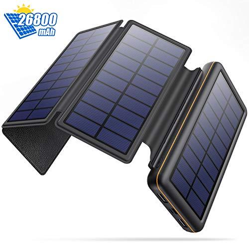 SWEYE Cargador Solar Móvil 26800mAh,【4 Paneles Solares