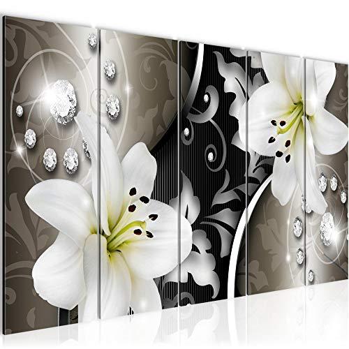 Runa Art Wandbild XXL Blumen Lilien 200 x 80 cm Braun Schwarz 5 Teilig - Made in Germany - 208055a
