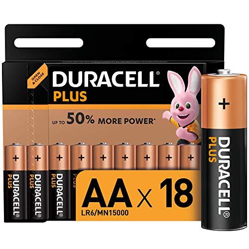 Duracell - Plus AA, Batterie Stilo Alcaline, confezione da 18 ad apertura semplificata, 1.5 volt LR06 MN1500
