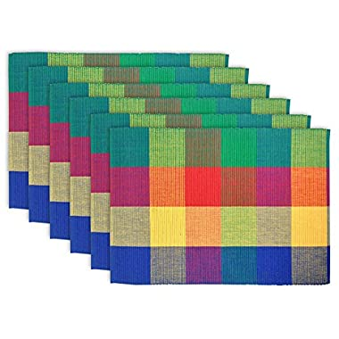 DII 100% Cotton, Ribbed 13x 19 Everyday Basic Placemat Set of 6, Summer Palette Check