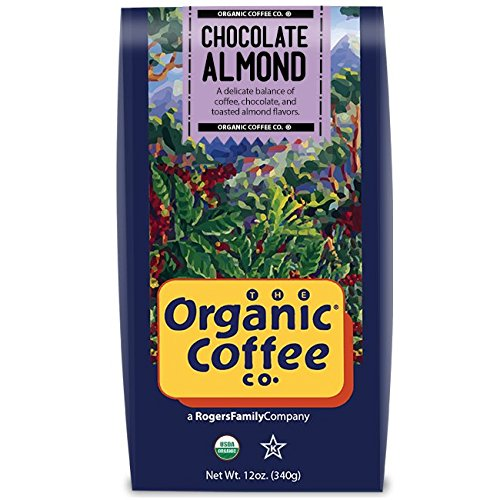 The Organic Coffee Co Chocolate Almond Whole Bean, 12 Ounce Bag, Flavored USDA Organic Whole Bean Premium Coffee, For Use with At-Home Coffee Grinders and Coffee Makers