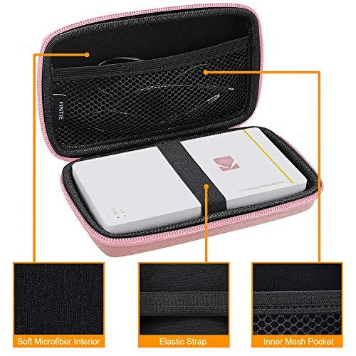Fintie Carry Case for Kodak Mini/Mini 2 HD Photo Printer/Mini Shot 2 in 1 Camera & Printer - Hard EVA Shockproof Storage Portable Travel Bag with Inner Pocket/Removable Strap, Rose Gold