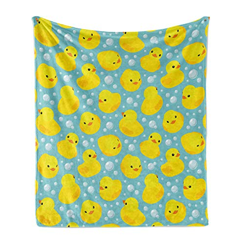 Lunarable Cartoon Soft Flannel Fleece Throw Blanket, Happy Rubber Duck and Bubbles Pattern Childhood Kids Theme Art, Cozy Plush for Indoor and Outdoor Use, 50' x 60', Yellow Aqua
