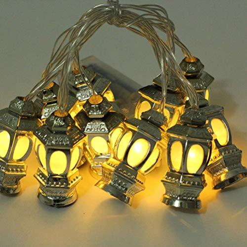 WYDM Luces LED de Cadena de Ramadán, 10 LED, Linterna Negra, Mini Luces de Cadena de Queroseno, Luces de Cadena de Festival para Patio, jardín, casa de Vacaciones