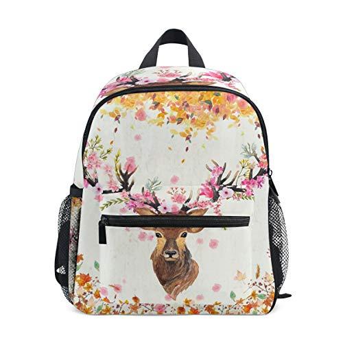 Mini Elk Backpack for Girls Fall Maple Leaves Kids Preschool Backpacks Toddlers Purse Kindergarten Book Bags for Teen