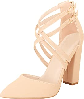 Cambridge Select Women's Pointed Toe D'Orsay Crisscross Strappy Chunky Block Heel Pump