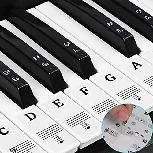 88/61/54/49 teclas transparentes para teclado de piano infantil, transparente y extraíble, para fácil lecciones de piano