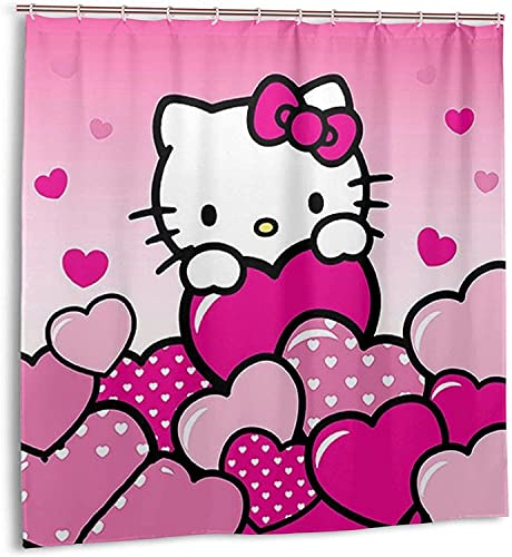 Hello Kitty Anime Cartoon Duschvorhang Badezimmer Dekor Exquisite Schimmelresistent Wasserdicht Extra Lang Badvorhang mit 12 Kunststoffhaken