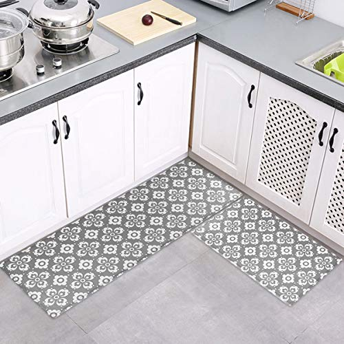 Kitchen Mat, 2PCS Cushioned Anti-Fatigue Kitchen Rug Set Non-Slip Ergonomic Comfort Foam Carpet Mat Set,Water Oil Proof Standing Rugs Decor Laundry, Floor Home, Office, Sink,Grey
