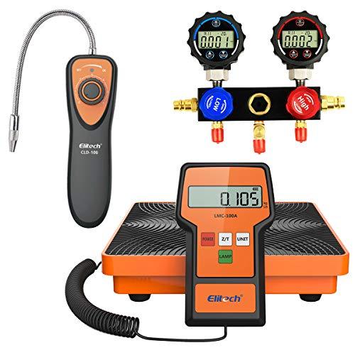 Elitech CLD-100 Refrigerant Leak Detector Freon Leak Detector + LMC-100A Refrigerant Charging Scale 110lbs + DMG-1 AC Manifold Gauge Set 2 Way Fits R134A R410A