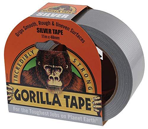 Gorilla Tape Silber – 11 m x 48 mm, Produktreihe Gorilla – Gaffer-Klebeband, Bandfarbe Silber, Bandlänge – Imperial 11 m, Bandlänge – Metrisch 11 m, Bandtyp Gaffer/Duct/Tuch, Bandbreite – Imperial