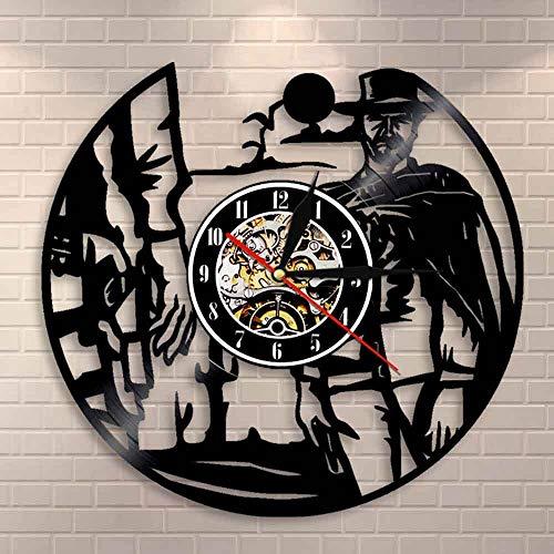 QIANGTOU Wild West Sunset Cowboys Paisaje Decoración de Pared Reloj de Pared Western Rodeos Disco de Vinilo Reloj de Pared Cowboys Decoración del hogar