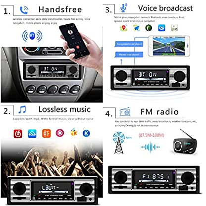 Yolispa-Autoradio-Bluetooth-Stereoanlage-mit-USBSDAUX-Anschluss-4-x-60-W-Auto-Audio-FM-Radio-Digitaler-MP3-Player-Freisprechen-mit-Fernbedienung