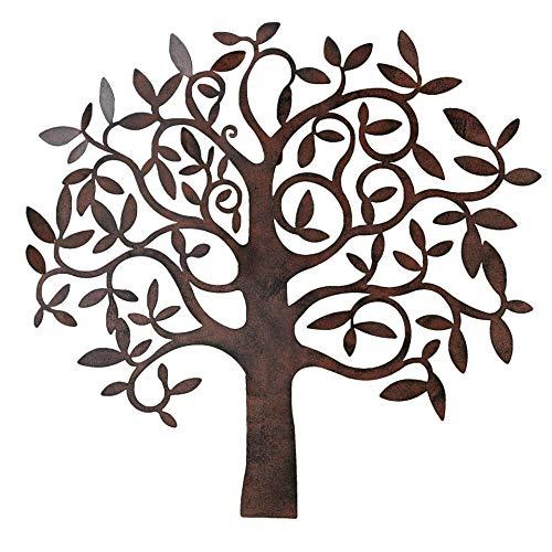 Objeto de pared de metal, árbol de la vida, marrón, 71 x 68 cm