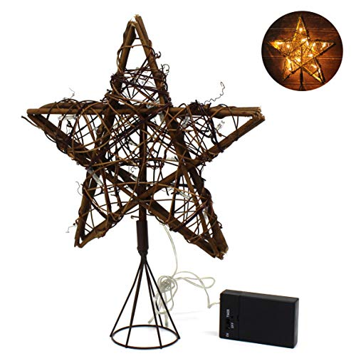 CVHOMEDECO. Rattan Natural Tree Top Star with Warm White LED Lights and timer for Christmas Tree Decoration and Holiday Seasonal Décor, 10 x 13 Inch/15 LEDs