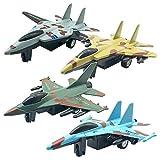 FBGood Ensemble de Modèles en Alliage de Chasse - Avion Jouets Set Jets De Combat Militaire en Métal Coulé pour Modèle d'avion De Retrait pour Garçon Enfants, Cadeau pour Les Enfants (4PC)