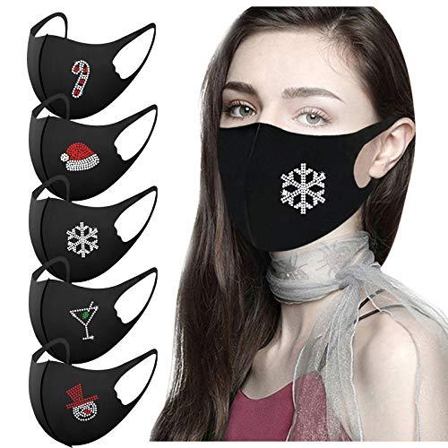 5PC Adult Weihnachts MASQUE Mund-Nasen Bedeckung Diamond Ice Silk Atmungsaktiv Halstuch ohne Filter