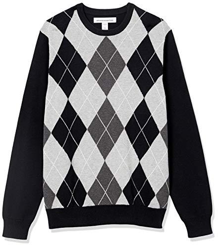 Amazon Essentials Crewneck Sweater, Black Argyle, L