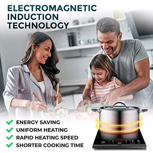 Product Image 6: Mueller RapidTherm Portable Induction Cooktop Hot Plate Countertop Burner 1800W, 8 Temp Levels, Timer, Auto-Shut-Off, Touch Panel, LED Display, Auto Pot Detection, Child Safety Lock, 4 Preset Programs