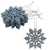 Christmas Concepts Paquete de Decoraciones Colgantes de Copos de Nieve con Brillo de 12-10 cm - Decoraciones navideñas (Azul Hielo)