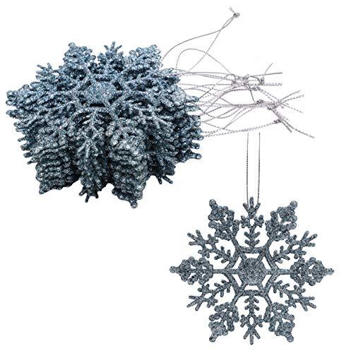 Christmas Concepts Lot de 12 à 10cm de décorations à Suspendre pour Flocon de Neige Scintillantes - Décorations de Noël (Bleu glacé)