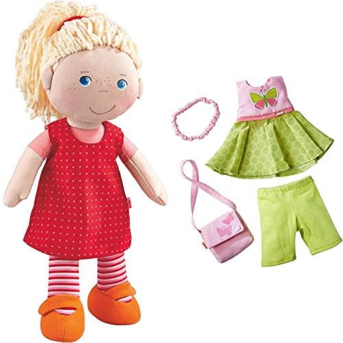 HABA 302108 - Puppe Annelie, Stoffpuppe mit Kleidung und Haaren, 30 cm, Spielzeug ab 18 Monaten & Kleiderset Schmetterling, Set aus Kleid, Hose, Handtasche und Haarband, Puppenzubehör für alle 30 cm