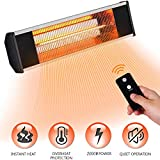 Sundate 2000W Electric Infrared Heater, Waterproof Patio Heater with Remote Control Indoor Outdoor Wall Mount Electric Space Heater Instant Heat IP65 Rated for Home, Garden, Office, Restaurant. etc.