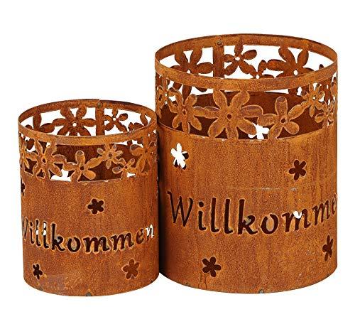 levandeo 2er Set Windlicht H24cm Rost Willkommen Laterne Garten-Deko Gartenleuchte Rostdeko Edelrost Blumen