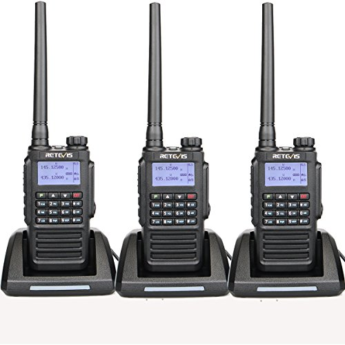 Retevis RT87 High Power Walkie Talkies Long Range, 2 Way Radios Waterproof for Adults, Dual Band 128 CH Radio Hands Free Emergency Alarm(3 Pack)