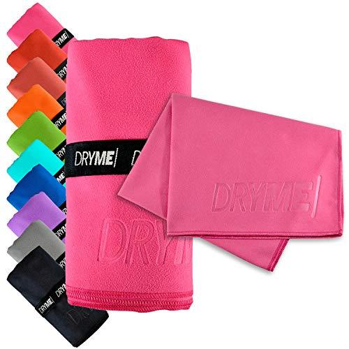 Dryme Toalla de Microfibra Deportiva Ultra Absorbente Secado Rápido Ligera y Portatil para Gym Natación Yoga Playa Diferentes Modelos y Tamaños (Rosa, Mediana (100 x 60 cm))
